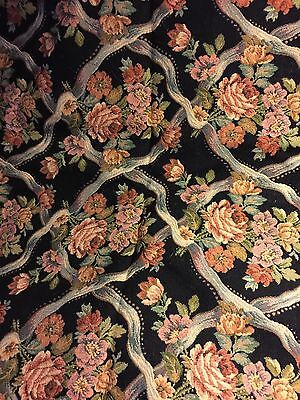 Antique French Roses Floral Scroll Tapestry Fabric 3 Yds Grandmas Estate (Mia)