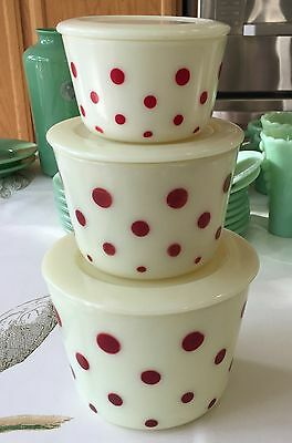 McKee Red Polka Dots Custard Glass 3 Piece Stacking Canister Jar Set ~ Cheery ~