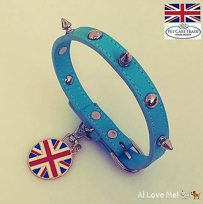 Cool Cat Collars UK Studded Blue Leather With Union Jack Christmas 2016 Handmade