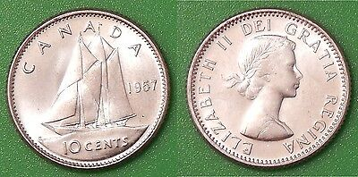1957 Canada Dime 80% Silver From Mint Set