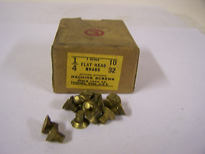 """10-32 x 1/4"""" Flat Head Solid Brass Machine Screw Slotted Made in USA  Qty 144"""