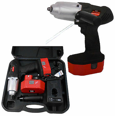 "24V Volt Powerful 1/2"" Drive Hy Duty Cordless Impact Wrench + 2 Batteries + Case"
