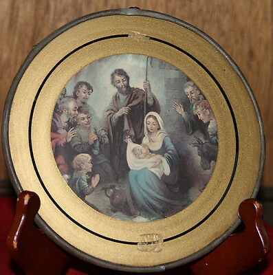 Antique Chimmey Flute Cover  Stove Pipe Cover / Hanging Wall Cover - Holy Family