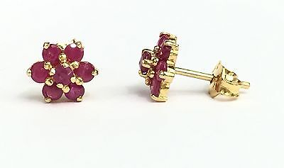 14k Solid Yellow Gold Cluster Flower Stud Earrings, Natural Round Ruby 2TCW