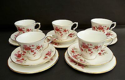 5 Vintage Queen Anne Pink Floral Cups Saucers & Tea Plates - Fab Condition