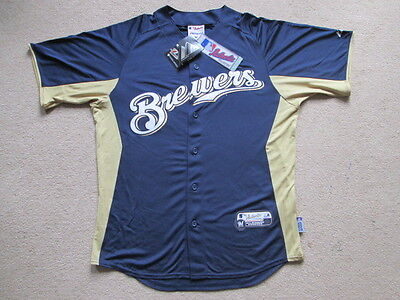 Milwaukee Brewers MLB Baseball Button Down Sewn Jersey Shirt - Mens Medium NWT