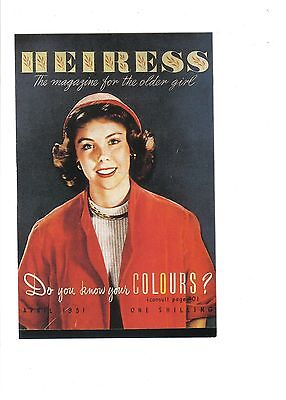 Heiress Magazine Cover,1951.Nostalgia Postcard.