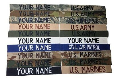 Military Custom Name Tape ACU BLACK DESERT ABU Multicam white OD Green Tape