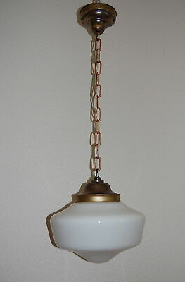 Medium Brass & Milk Glass Schoolhouse Pendant Light