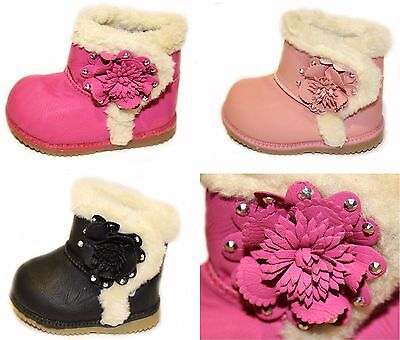 Baby Girls Infant Pink Black Winter Faux Leather Fur Ankle Boots Shoes 2 3 4