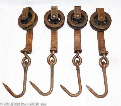 Vintage Butcher Cast Iron MEAT HOOKS with Rollers GLOBE CO Lighting Coats