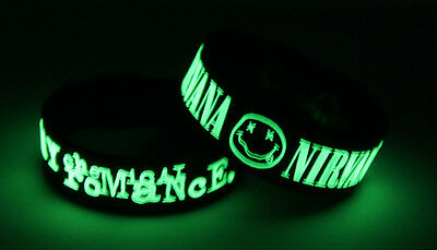 MY CHEMICAL ROMANCE NIRVANA M7N8 NEW! 2x Bracelet Wristband Glow in the Dark