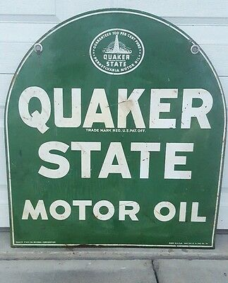 Vintage Quaker State Motor Oil Sign, Double Sided Tombstone