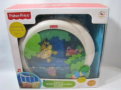 NEW Fisher Price Rainforest Waterfall Peek a Boo Soother Musical Baby Crib Toy