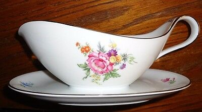 Heinrich Ammut china GRAVY BOAT w/attached plate H&Co. Selb Bavaria Germany