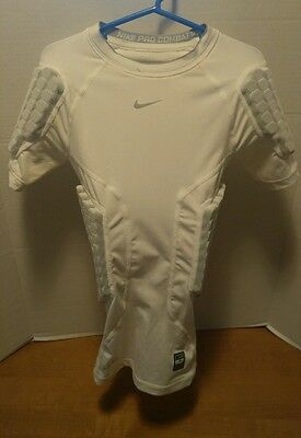 Nike Pro Combat Dri-Fit Youth Small Padded compression football shirt White