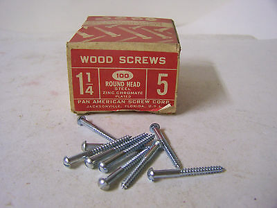 "#5 x 1 1/4"" Round Head Zinc Chromate Plated Wood Screws Slotted USA Made Qty 100"