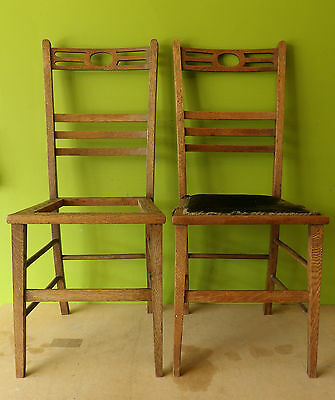 Pair Arts and Craft Oak Chair - Cane Seat - Refurb Project - Unusual Shape