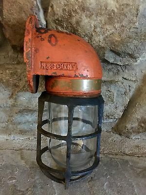 Antique Bulkhead Brass Russell & Stoll R&S Co.NY Salvaged Light w R&S Cage Guard