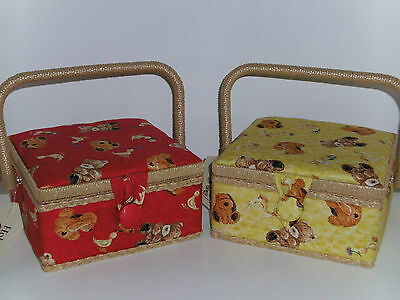 Hobby Gift-Small-Square-Sewing Box-Cute Puppies & Teddies Design on Yellow