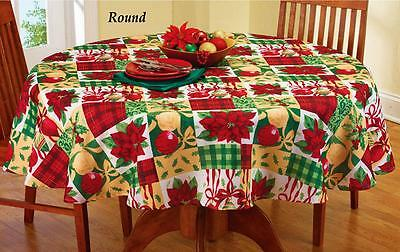 """Holiday Vintage Patchwork Christmas Decor Tablecloth 70"""" Round Textured Poly"""