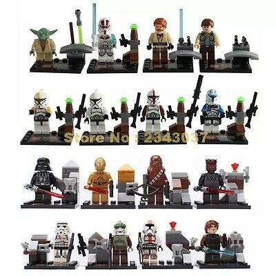16 Pcs Star Wars Mini Figures Darth Vader Darth Maul Chewbacca Fits Lego