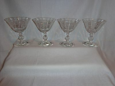Vintage Fostoria Optic Etched Corsage Low Champagne Cocktail Sherbet Glasses (4)