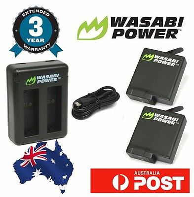 Wasabi Power Battery for Go Pro HERO5 Dual USB Charger with 2x 1220mAh batteries