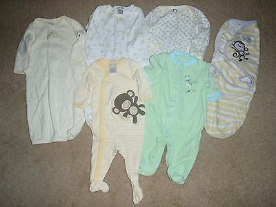 NEUTRAL Baby Boy/Girl  LOT of 6~ 0-3M ~ Sleepers/Swaddler EUC