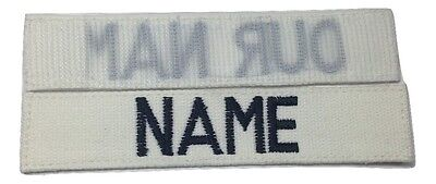 White Custom NAME TAPE with Fastener, US ARMY USAF MARINES POLICE Military