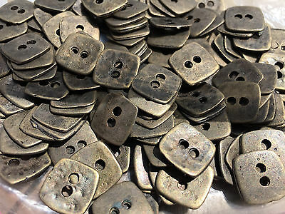 """50  SQUARE METAL VINTAGE BUTTONS  1/2"""" X 1/2""""  Antique Brass Finish 2 Hole"""