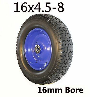 """Punchture proof 16""""x4.5-8 Rubber WheelBarrow Cart Tyre Solid Flat Free 16mm Bore"""