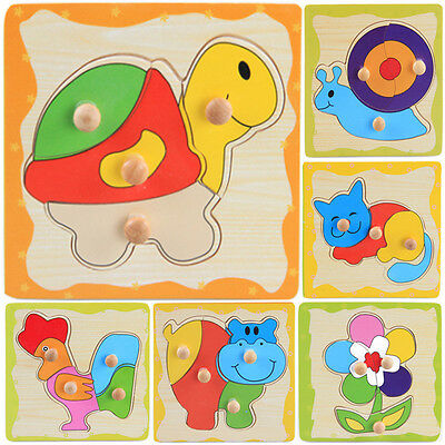 Wooden Puzzle Jigsaw Cartoon Kids Baby Educational Learning Puzzle Toys HH