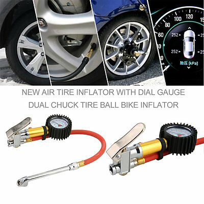 New Air Tire Inflator With Dial Gauge Dual Chuck Tire Ball Bike Inflator CC