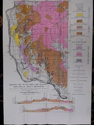 Vintage Geological Map of the Bead Lake Mining District, Washington