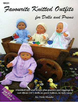 NEW Favourite Knitted Outfits  for Dolls and Prems by Vicki Moodie