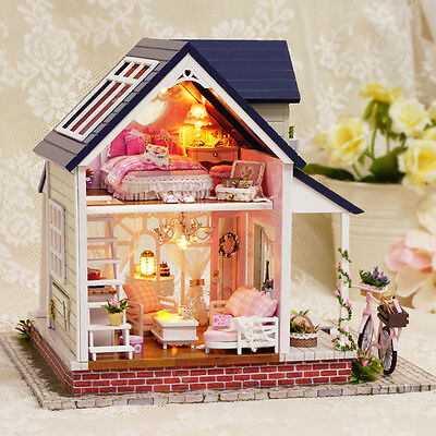 Wooden Doll Music Dollhouse Mini DIY Villa House Bicycle Light Furniture Gift