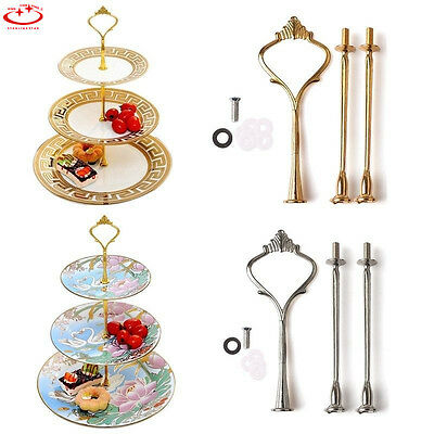 2/3 Tier Cake Cupcake Plate Stand Handle Hardware Fitting Holder Gold Crown