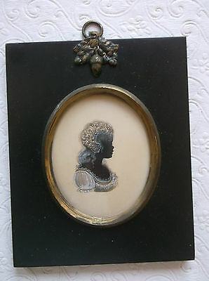 FRAMED MINIATURE SILHOUETTE PAINTING early 1800s A LADY IN PROFILE