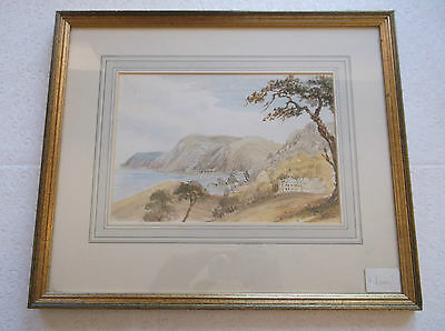 Framed Watercolour Painting 1845 A Study Titled Watermouth A Coastal Inlet View