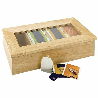 Olympia Tea Box Storage 4 Compartment Wooden Kitchenware Supplies