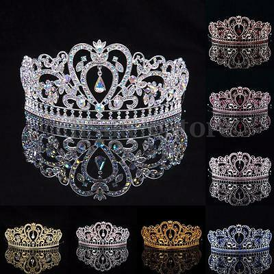Crystal Wedding Tiara Crown Prom Pageant Princess Crowns Bridal Veil Headband US