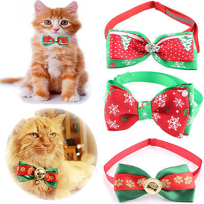 New Dog Cat Puppy Christmas Xmas Adjustable Bow Tie Necktie Collar Pet Accessory