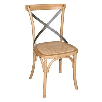 2X Bolero Natural Wooden Dining Chairs with Backrest Restaurant Furniture