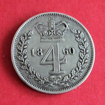 1860 Queen Victoria Silver Maundy 4 Pence