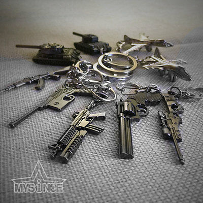 Military ​Pistol Airplane Tank Gun Model Weapon Metal Keyring Keychain Key Chain