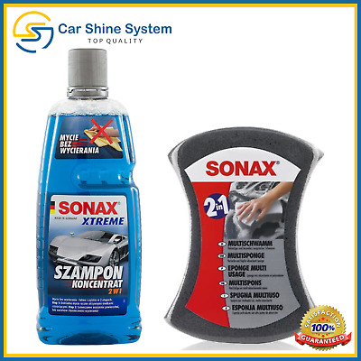 SONAX Xtreme Shampoo 2 in 1 Rinse Wash and Leave to Dry + Sonax Sponge Car Kit