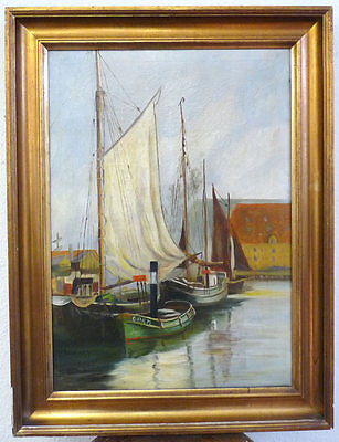 M. Clemensen Fishing Boats in the Harbour, 1. half 20.Jh