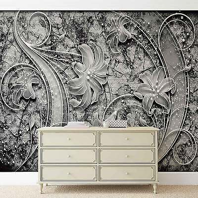 WALL MURAL Floral Abstract Silver Grey Black XXL PHOTO WALLPAPER (2341DC)
