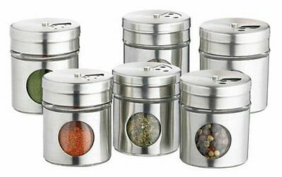 Set Of 6 Kitchencraft Home Made Stainless Steel Spice Jars New UK SELLER